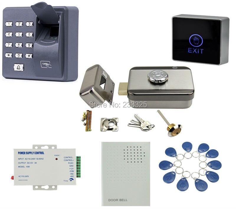 X6 contrôle d'accès par empreinte digitale RFID clavier 125 KHZ contrôle électrique serrure de porte pour 12 V DC système de contrôle d'accès kit 20 étiquettes