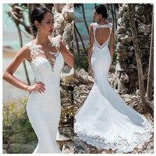 סקסי בת ים חתונה שמלה ללא שרוולים תחרה Appliqued אשליה חזרה Boho חתונת שמלה ארוכה רכבת ללא משענת הכלה שמלה