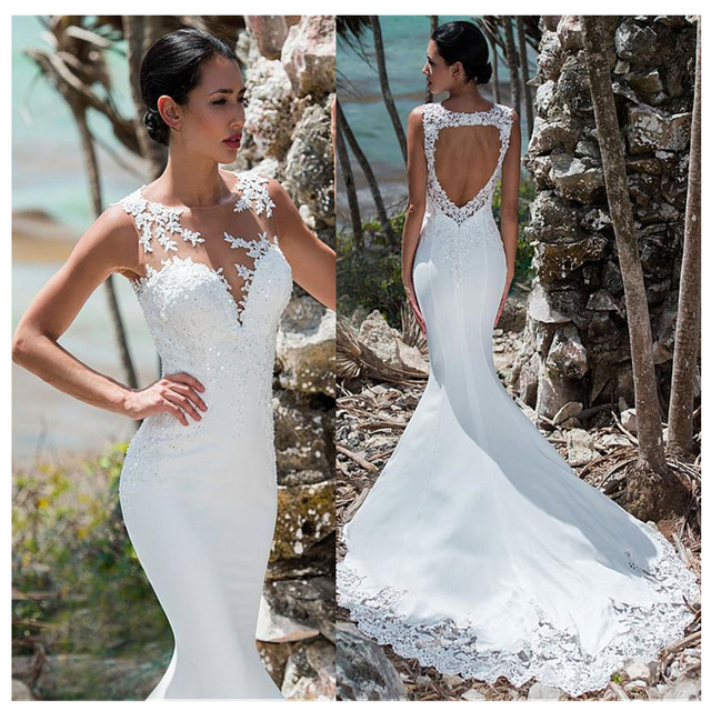 Sexy Mermaid Wedding Dress Sleeveless Lace Appliqued Illusion Back