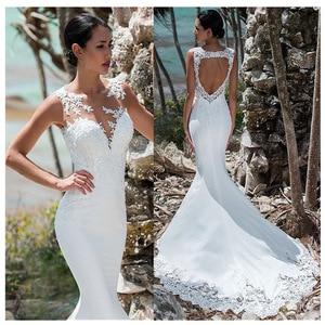 Image 1 - Sexy Mermaid Wedding Dress Sleeveless Lace Appliqued Illusion Back Boho Wedding Gown Long Train Backless Bride Dress