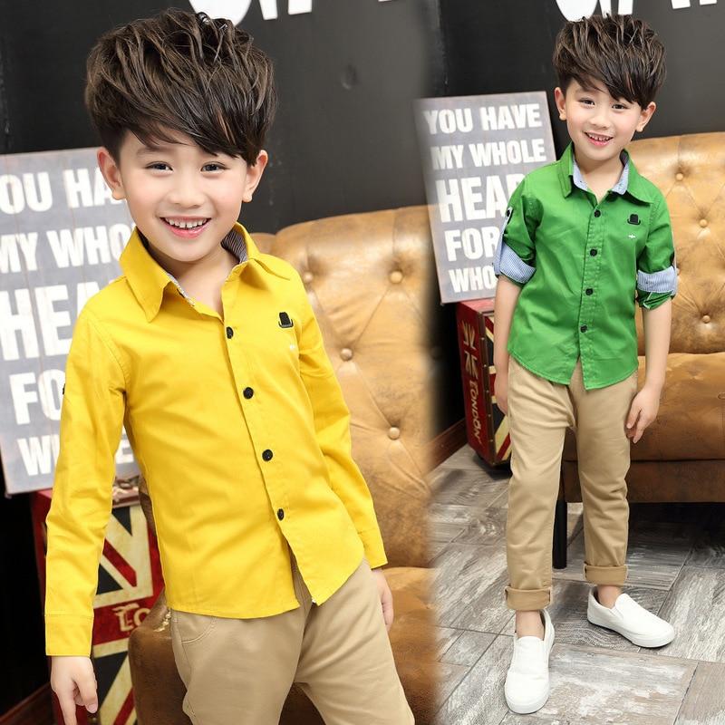 7dd579faf1a7 2018 New Spring Summer Fashion 3 10Y Boys Shirt Baby Boy Solid Color ...