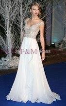 2016 Maß Neueste Sexy Lady Schöne New Fashion Design Vintage Elegante Spitze Chiffon Weiß Bodenlangen Abendkleid