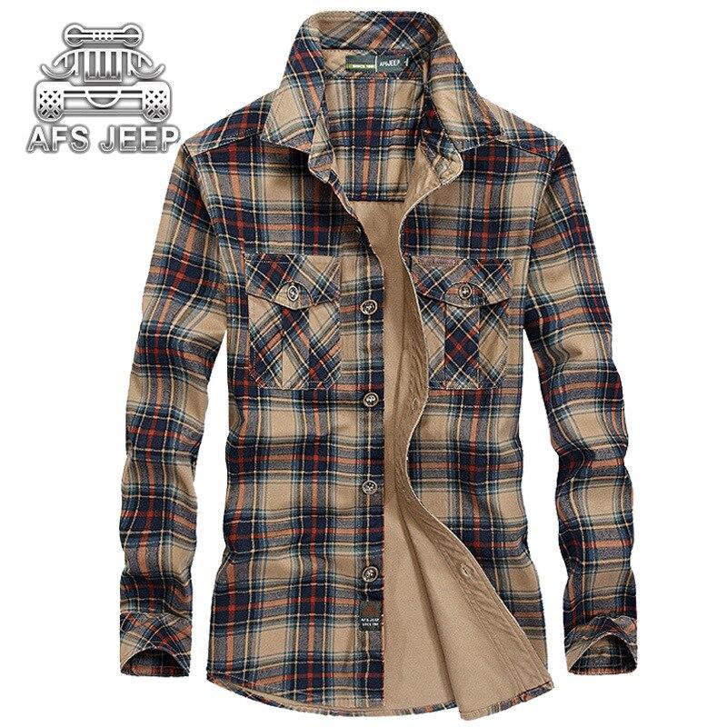 2017 JEEP 100 cotton Men Plaid Casual Shirts New Autumn Brand Formal Fashion Male Dress shirt