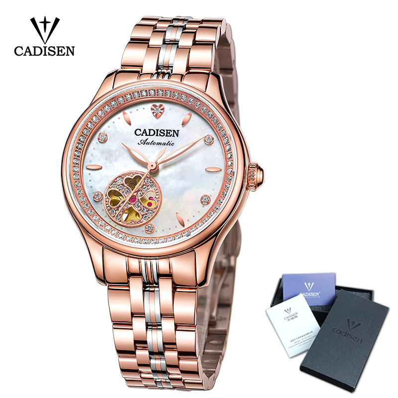 New Women Watch CADISEN Skeleton Automatic Ladies Leisure Dress Stainless steel Fashion Top Brand Luxury Waterproof Wristwatch все цены