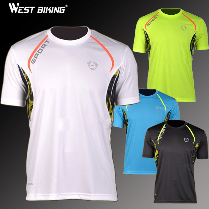 WEST BIKING Brand Quality Design Men Sports Tshirts Slim Fit Quick Dry T-shirts Male Fitness Running Cycling Jerseys image