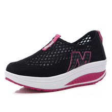 Women Flat Shoes Summer New Mesh Breathable Rocking Casual Run Platform Wedges Single