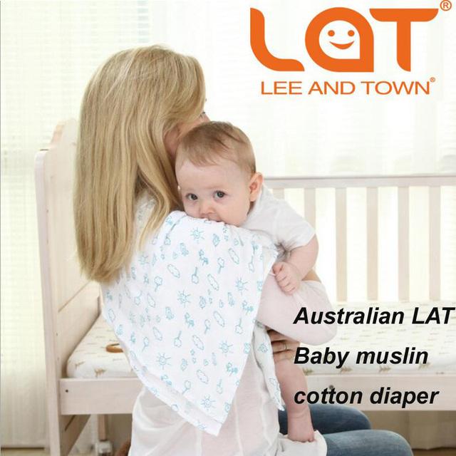 Embalagem Da Caixa de presente 4 Peças Um Pacote Do Bebê Fraldas Laváveis Reutilizáveis fraldas de Algodão Gaze Fraldas Para Bebés Recém-nascidos Trocador Infantil Tamanho 70*70 cm