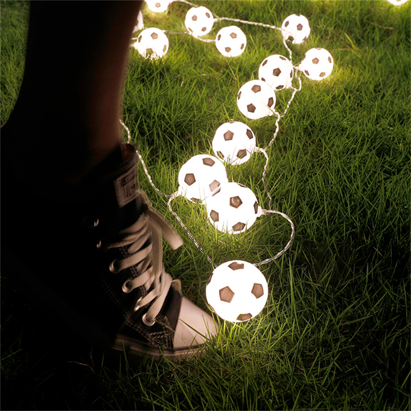 3M 6M LED Ball String Lights Plastic Football Soccer Fairy Lights Battery Flash Garlands Bright Decoration For Home Kids Party