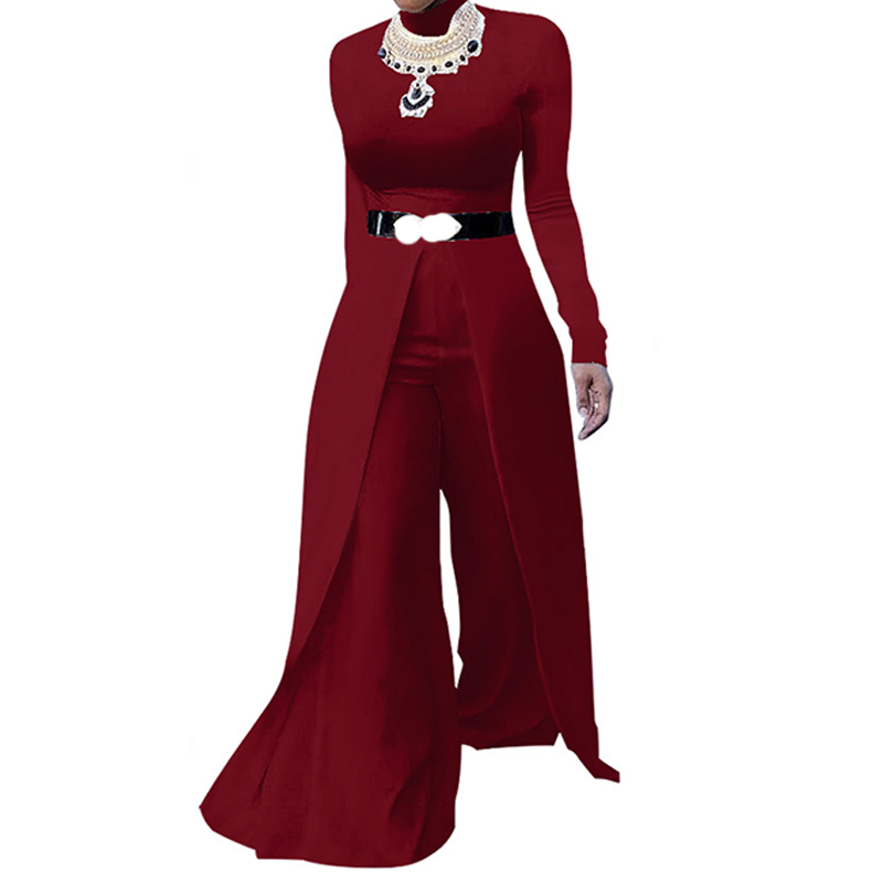 f5a987c66b67 Detail Feedback Questions about Vintage Wide Leg Jumpsuits for Women Fashion  Long Sleeve O Neck Elegant Evening Party Long Pants Rompers Women Jumpsuit  ...