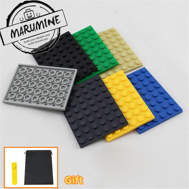 MARUMINE Plate 6 x 8 building blocks compatible 3036 base plate for block figures DIY Classic Educational bricks new big size 40 40cm blocks diy baseplate 50 50 dots diy small bricks building blocks base plate green grey blue