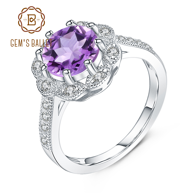 GEM'S BALLET 2.01Ct Natural Purple Amethyst Engagement Wedding Ring For Women 925 Sterling Silver Gemstone Rings Fine Jewelry