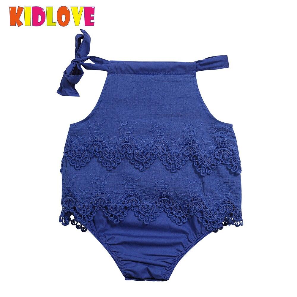 KIDLOVE Baby Girls Infant Lace Romper Halter Floral Embroidered Solid Color Jumpsuit Cute Sling Demin Tropical Bodysuit ZK30