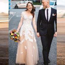 Long Sleeves Bridal Gown Robe de mariee Custom Champagne V Neck Tulle A Line Wedding Dresses Lace Appliques