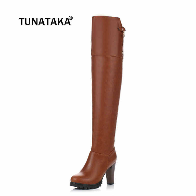 Bayanlar Pu Deri Diz Yüksek Çizmeler Kare Yüksek Topuk Moda Çizmeler Platformu Fermuar Kış Kadın Ayakkabı Kahverengi Kırmızı