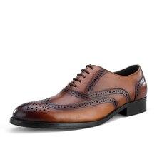 QYFCIOUFU New Original Handmade Men'S Suit Shoes New Fashion England Dress Shoes Men'S Genuine Leather Retro Brogue Shoes