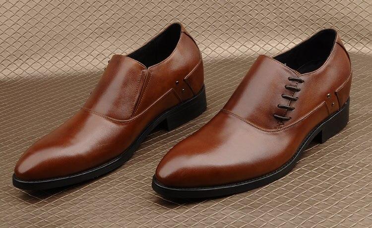 Homme 2 1 Véritable Automne En Augmenter Cuir Mode De Richelieus Mariage Lace Up Chaussures Derby 2018 Mâle Printemps Side Hauteur Italie D'affaires rRq1grf