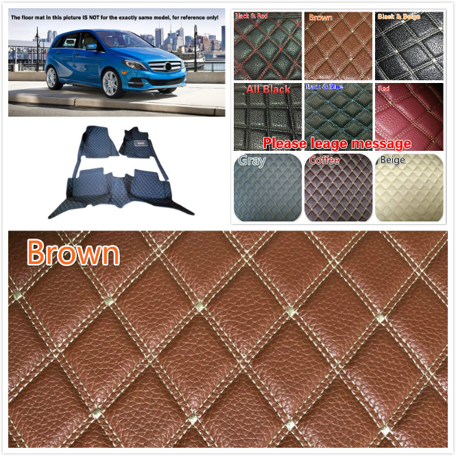 5 Seats Customs Car Interior Leather Floor Mats & Carpets Waterproof Pads For Benz B Series W246 2013 2014 2015 Car-styling car floor mats special made for mercedes benz w246 b class 160 180 200 220 b160 b180 b200 car styling case rugs liners 2012