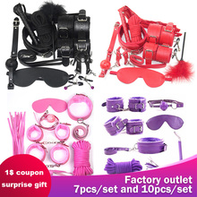 2019 Handcuffs SM sex Toy 7 10 Pcs/set Porno Sex Nipple Clamps Whip gag Bdsm Collar mask Bondage Set Sexy Lingerie