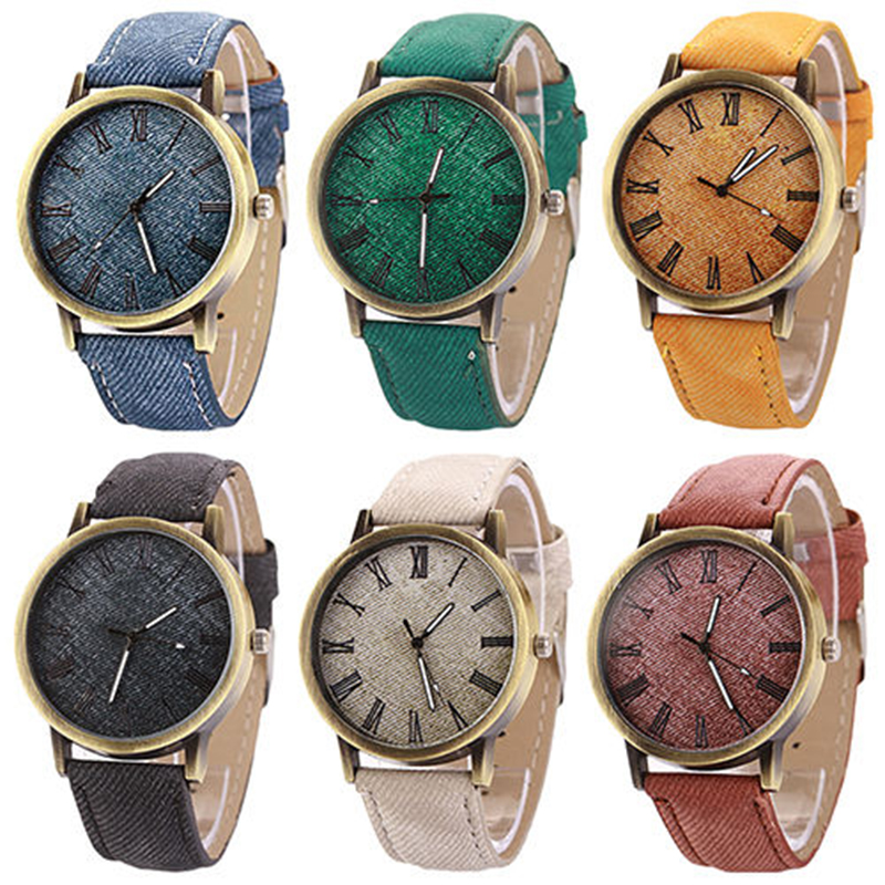 Shellhard 9 Colors Fashion Causal Dress Cowboy Watches Mens Womens PU Band Vintage Retro Quartz Waterproof Wrist Watch Relogio 4 design bronze vintage quartz pocket watch free mason sword art online gear necklace pendant chain womens mens gifts p1123