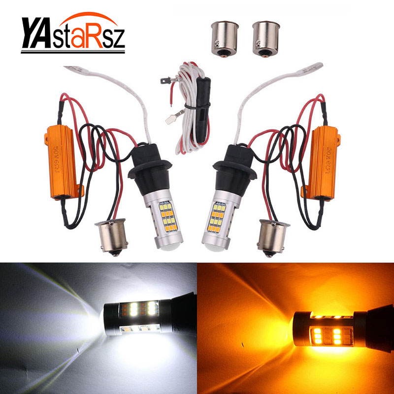 2pcs T20 7440 2835 42 SMD 1000LM 20W Car LED DRL Daytime Running Light Dual Color Switchback Turn Signal Lamp Bulb DC 12-24V
