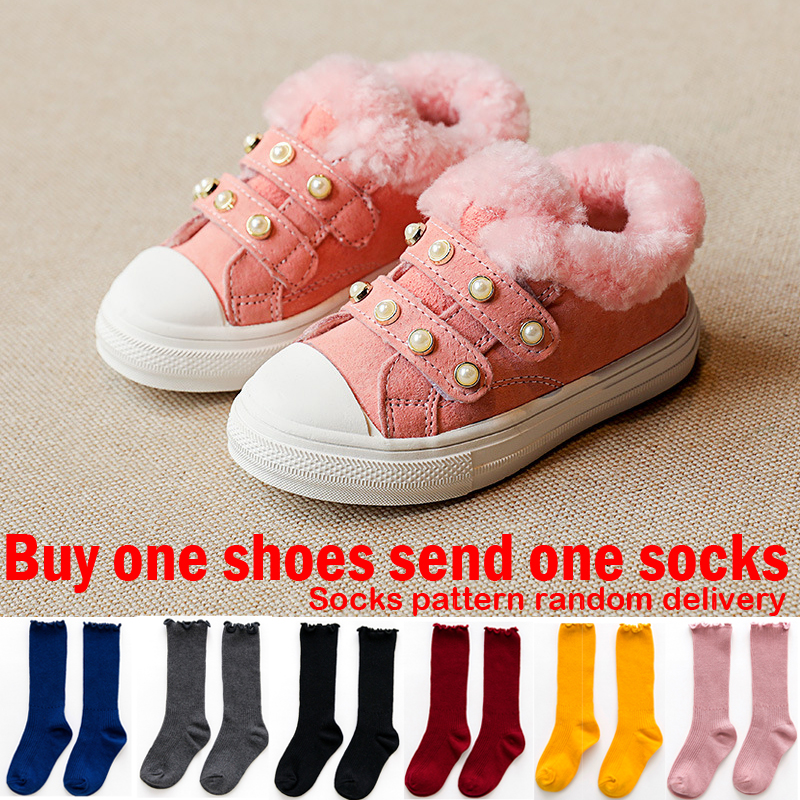 Toddler Kids Winter Boots For Girls Winter Shoes For Children Snowshoes for Teenage Girl Sneakers Kid Fur Plush Shoes Pearl Pink