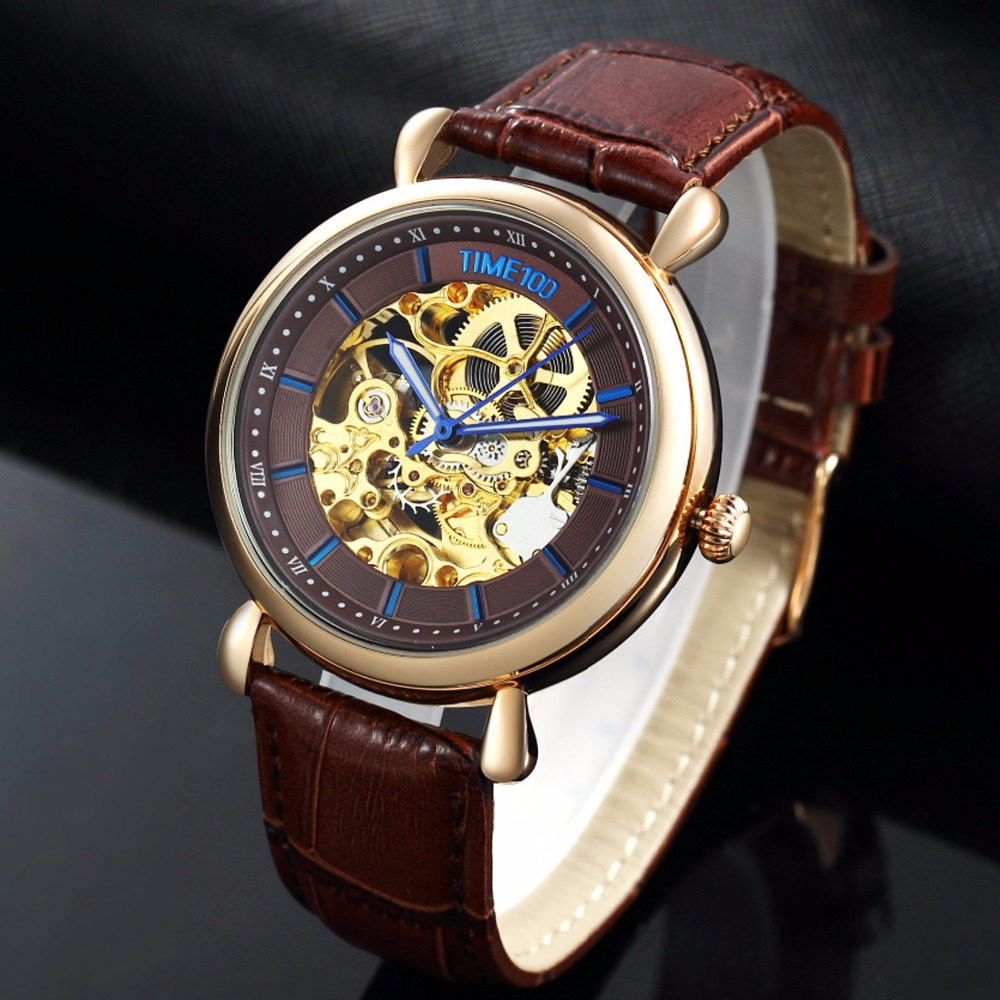 где купить TIME100 new Men Mechanical Skeleton Watches Hollow Out Automatic Self-wind Black Genuine Leather Watch Men Casual Watches по лучшей цене