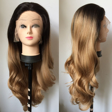 Fashion Ombre Blonde Long Bodywave Synthetic Lace Front Wig Fulll Glueless Dark Brown/Blonde Heat Resistant Hair Women Wig