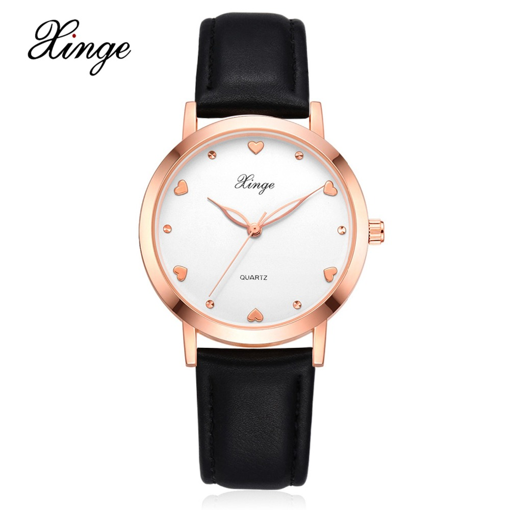 Xinge Fashion Top Brand Rose Gold Women Dress Watches Luxury Womens Casual Business Quartz Watch Ladies Leather Wristwatch