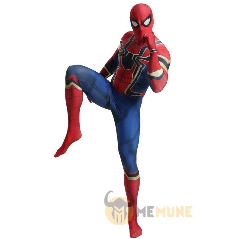 Alta calidad superhéroe Hombre Araña de araña 3D músculo matices apretado partido Zentai traje de Halloween Cosplay disfraz de Carnaval