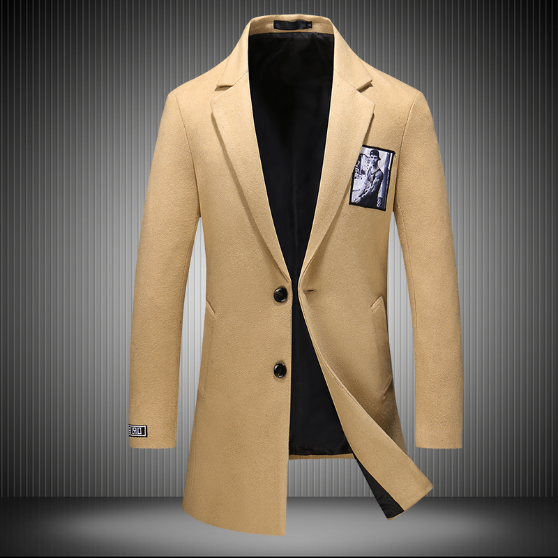 2019 New Fashion Men Wool Warm Autumn Winter Woolen Coat Male Business Casual Slim Windproof Jacket Long korean Overcoat men(China)