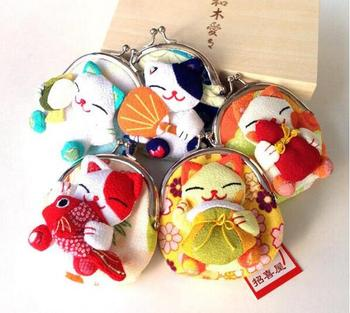 Cute Japan Style Lucky Cat A Variety Of Image Zero Wallet Cloth Coin Puses Bag Women Student Gift new japan genuine 2019 new year cute kawaii mascot zodiac lucky blessing pig cat figure decortion desktop