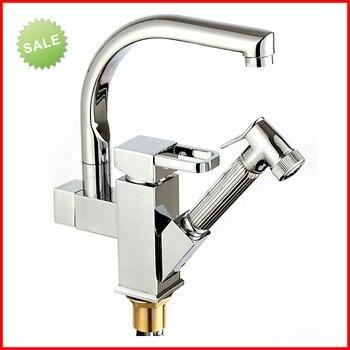 360 Degree swivel chrome faucet two spouts kitchen mixer faucet tap solid kitchen chrome faucets