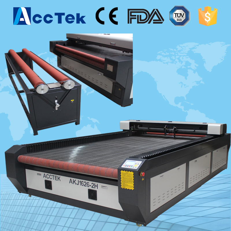 Auto feeding fabric cnc CO2 laser cutting machine 1626/1610 / usb co2 laser cutting machine with double heads