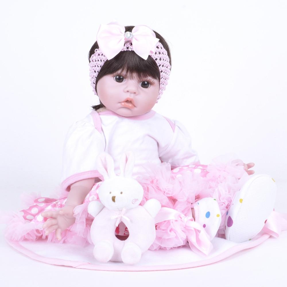 все цены на 55cm Realistic Reborn Girl Doll Soft Silicone Newborn Baby with Cloth Body Toy for Kids Christmas Birthday Xmas Gift