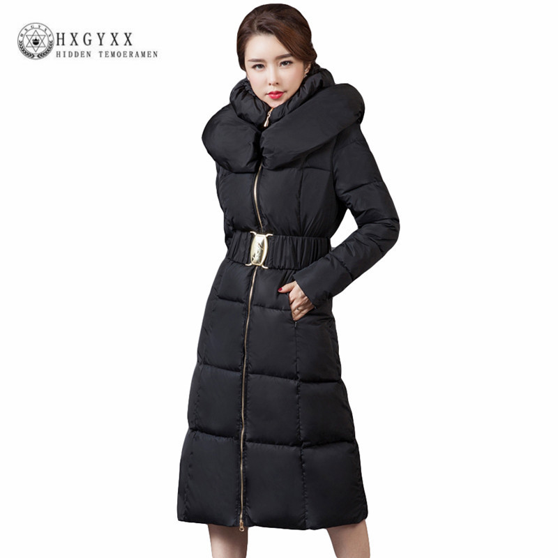 2017 New Women Winter Coat Long Quilted Jacket Thick Warm Solid Color Cotton Parkas Female Slim Hooded Zipper Outwear  Okb88 new collocation winter warm parkas hooded pockets zipper solid thick women coat slim long flare slim cotton padded lady jackets