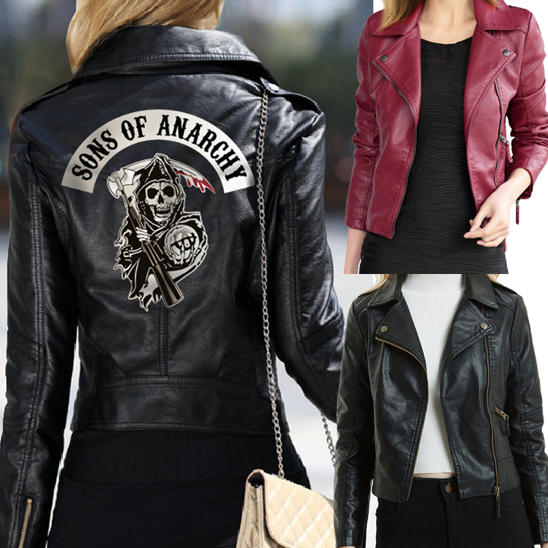 Women Sons Of Anarchy Leather Jackets Winter Slim Motorcycle Bomber Jacket Coats  Printed Skull Black Wine Red