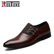 Модные Cuir véritable Мужские модельные туфли Высокое качество деловые мужские оксфорды острый носок Классическая Дизайн плюс размер 38-47 мужские туфли на плоской подошве