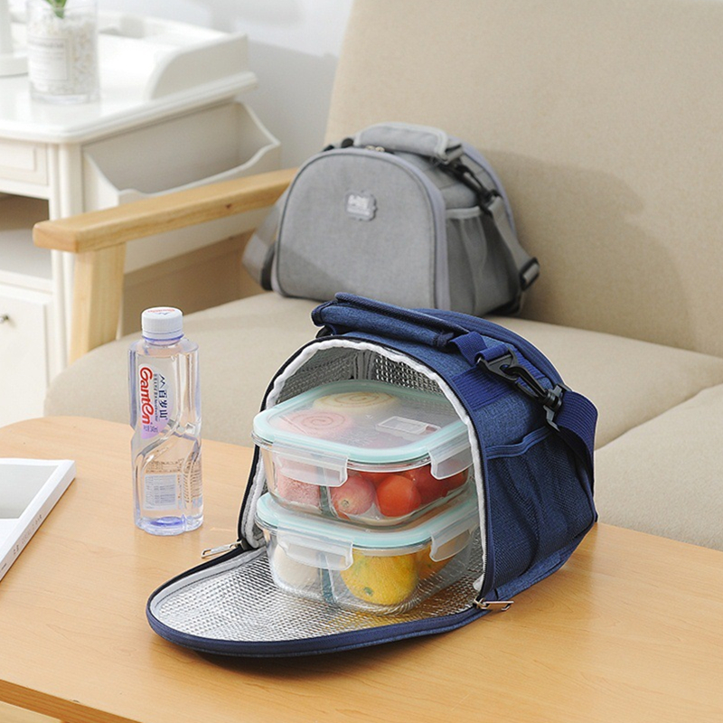 RUPUTIN Lunch Box Thermal Insulated Waterproof Lunch Bag With Shoulder Strap Picnic Bag Office Worker Insulation Container Pack