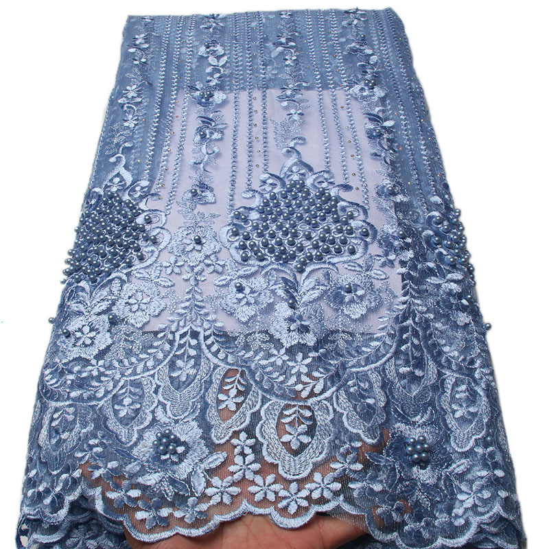 African Lace Fabric 2018 High Quality Lace Pink Nigerian Tissu Africain Guipure Embroidery French Tulle Lace Fabric Blue 1334B in Lace from Home Garden