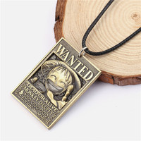 12pcs/lot H&F Men Jewelry One Piece Anime Dog Tag Military Card Pendant 3D Luff Wanted Necklace pendant hot sale rope necklace