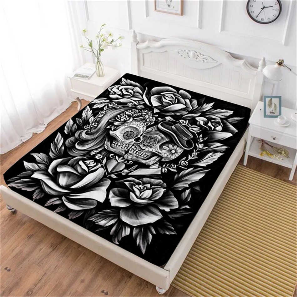 Boho 3D Sugar Skull Bed Sheet Black Rose Print Fitted Sheet Valentine's Day Couples Bedding Tribal Bedclothes Home Decor