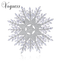 VOGUESS Luxury Elegant Silver Color Flower Brooches With Cz Full Crystals Broches Scarf Pin Accessories Bouquet