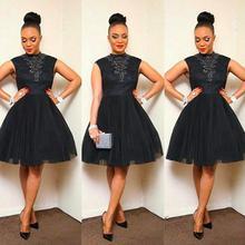 Neue Mode Perlen Applikationen High Neck Schwarz Kurze Abendkleider Ballkleid Knielangen Cocktailkleid Dresse