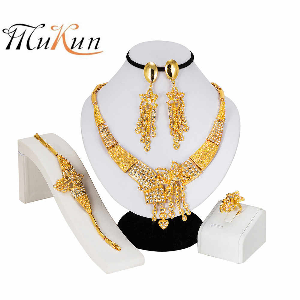 MUKUN 2019 Fashion Elegant Square Necklace Jewelry Sets Luxury Multi-color Crystal Dubai Bride Wedding Gold Jewelry Accessories