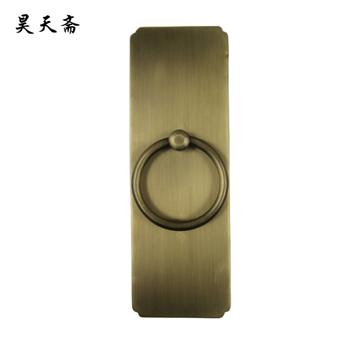 [Haotian vegetarian] antique bronze door knocker ring classic straight copper handle HTA-136 Large цена
