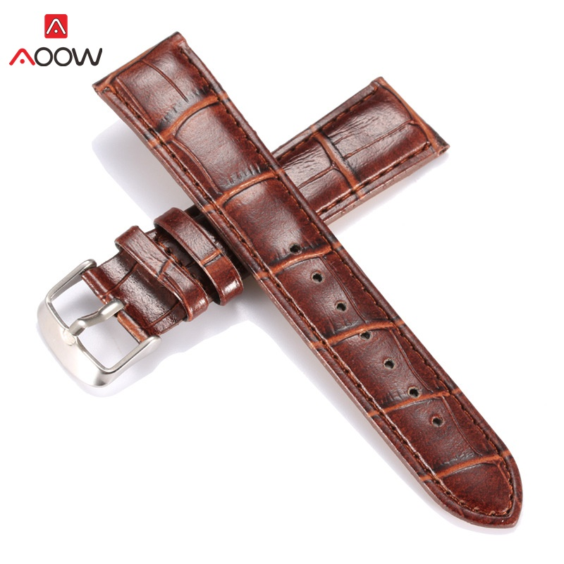 AOOW Genuine Leather Watchbands Black Brown Women Men 20mm 22mm Fashion PU Leather Watch Band Strap Belt With Buckle