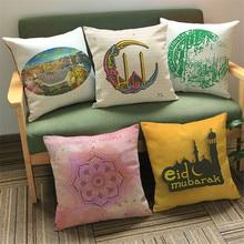 купить High Quality Pillow Case, Islam Muslim Religion Datura Flower Cotton Linen Throw Pillow Cushion Cover Pillow Cover decor home дешево