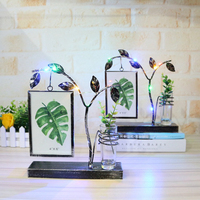 Creative Hydroponic Glowing Photo Frame Ornaments Metal Light Photo Frames Desktop Crafts Home Office Decor Hanging Frame Gifts