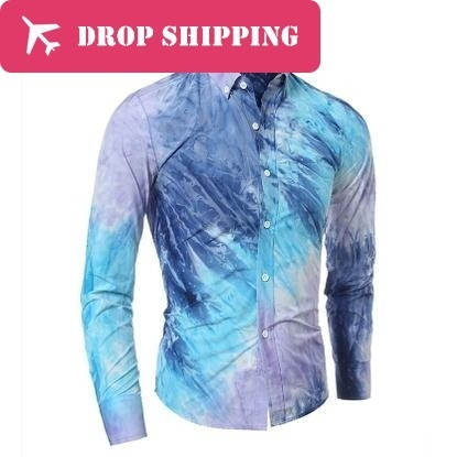 Drop ShippingQuality 3d Colorful Printing Long Sleeve Casual Shirt, ерлер Slim Fit Tie-dye көйлек, мөлшері M-2xl