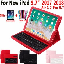 Blueteeth Keyboard Case For Apple New iPad 9.7 2017 Leather Folio Stand Bluetooth Cover for